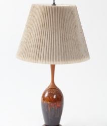 Lampe en teck et céramique vintage 1960