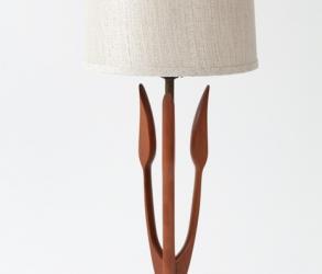 Lampe en bois et laiton vintage 1960
