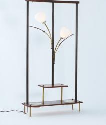 Lampe fleur torchère en bois et laiton vintage 1960