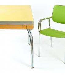 Table arborite chrome vintage 1950, Chaise chrome 1970