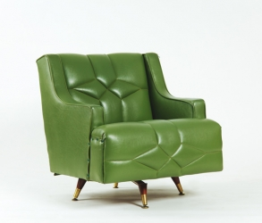 Fauteuil vert berçant et pivotant vintage 1960