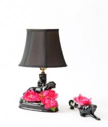 Lampe panthère de télévision en céramique noire vintage 1960
